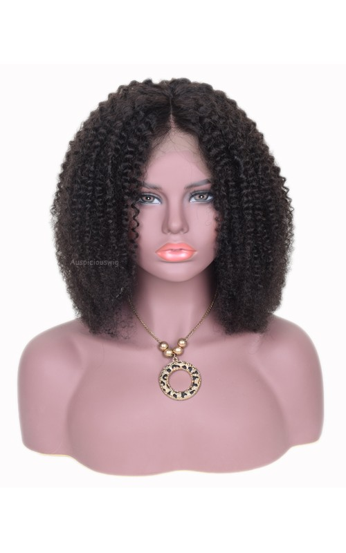 Auspiciouswig Short Afro Curly Bob Virgin Brazilian Hair Full Lace Front Human Hair Wigs For Black Women