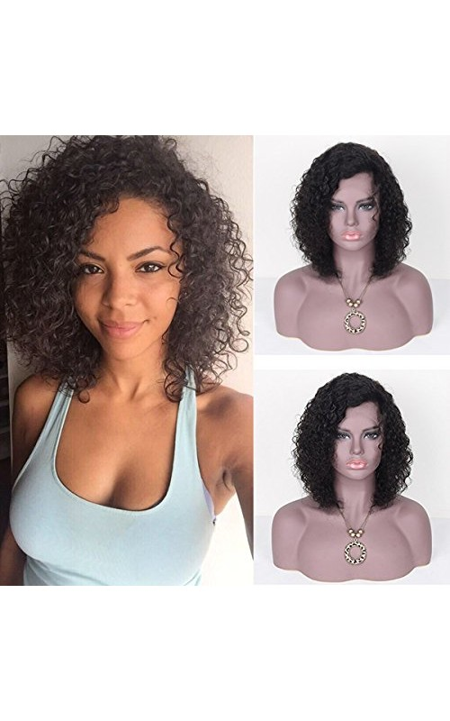 Auspiciouswig Glueless Full Lace Wigs Short Curly Virgin Brazilian Human Hair Lace Front Wigs For Black