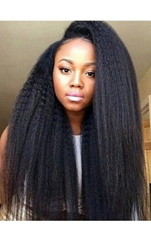 Auspiciouswig Kinky Straight Full Lace Front Wigs Virgin Brazilian Hair Human Hair Wigs For Black Women Pre Plucked Natural Black Color